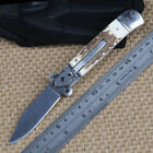 natural antler handle 440 blade fast openning outdoor folding new knife tools *