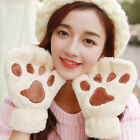 Fluffy Cat Claw Paw Plush Mittens Short Fingerless Gloves Half Finger Warm AK45