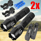 2 X Tactical 15000LM Zoom LED 5 Modes Flashlight Torch Battery&Charger&Clip USA