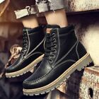 Mens High Top Warm Comfy Shoes Anti skid Snow Fashion Retro Leather Work Boots