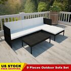 Patio Rattan Wicker Lounge Set With 3 Seater Sofa Garden Furniture Black Brown