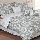 Twin Full Queen King Bed Blue Taupe Tan Brown Seashells Beach 7 pc Comforter Set image