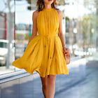 Bright Color Women Pleated Dress Casual Sleeveless Beach Party Pleated Skirt