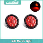 """2pcs 12LED Red 4"""" inch Round Side Marker Light Truck Trailer Tail Warning Lamp"""
