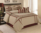 7 Piece MARMA Ruffle & Patchwork Comforter Sets Grey NavyBlue Queen King CalKing image