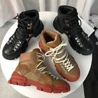 Womens Leather Low Heels Lace Up High Top Fashion Hiking Motorcycle Boots C314