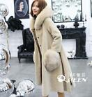 Womens Cashmere Loose Fit Real Fur Hooded Korean Winter Warm Overcoats Outwear V