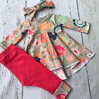 3Pcs Toddler Kids Baby Girls Floral Tops Dress Long Pants Outfits Clothes USA