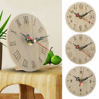 Small Round Wooden Wall Clock Vintage Chic Kitchen Office Living Room Decor