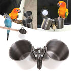 Food Water Feeding Bird Cups With Clip Stainless Steel Parrot Cage Stand OJ