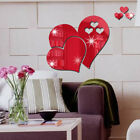 Uk 3d Hearts Mirror Wall Stickers Decal Diy Art Mural Removable Home Room Decor