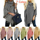 US Seller Women Striped Poncho Cape Pullover Cardigan Wrap Shawl Sweaters Jumper