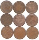 Great Britain, England. British Indie Set Large Cent Nine Coin 1907-1940