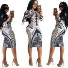 Women Long Sleeves Floral Print Casual Club Party Cocktail Bodycon Mini Dress