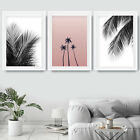 Set of 3 Black Palm Leaf Pink Palm Trees Leaves Scandi Art Prints Poster Large