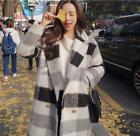 Women's Korean Wool Blend Plaid Lapel Collar Knee Long Jacket Parka Ourwear Coat