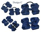 Navy blue hair bows  thick hair bobbles or alligator clips  school accessories