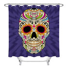 """Colorful Skull 71X71"""" Polyester Fabric Shower Curtain Set Liner Bathroom Decor"""