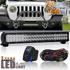 """23Inch 144W Led Light Bar Spot Flood COMBO FOR Offroad 4WD Driving Lamp 24"""" 20"""