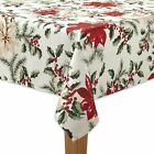 The Big One Christmas Holiday Fabric Tablecloth Red Poinsettia Green Holly Berry