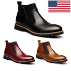 Mens Fashion Martin Leather Boots Male High top Winter Warm Casual Shoes US105
