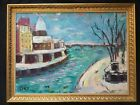 VINTAE OIL PAINTING 'TOWN RIVER' EXPRESSIONISM, ORIGINAL FRAME, VERY ATTRACTIVE.