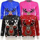 Adult Unisex Reindeer Snow Flakes Christmas Novelty Knitted Jumper Sweater Top