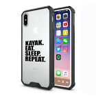 For Apple iPhone X XS Max XR Clear Shockproof Case Cover Kayak Eat Sleep Repeat