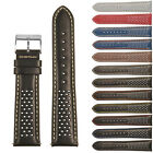 StrapsCo Perforated GT Rally Racing Leather Watch Band - Quick Release Strap image