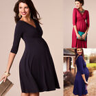 UK Pregnant Womens Long Wrap Maxi Dress Evening Party Gown Maternity Photo Shoot