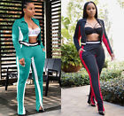 Women Long Sleeves Zipper Colors Patchwork Casual Club Party Sports Jumpsuit 2pc
