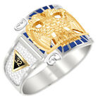 Customizable Men's Two Tone 0.925 Sterling Silver or Vermeil Scottish Rite Ring