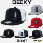DECKY 6 Panel FLAT Bill Trucker Hat Snapback Acrylic Nylon Mesh Cap Plain #1052