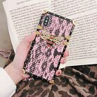 For iPhone XS Max XR 7 8 Women Square 3D Bee Lizard pattern Leather Glitter Case