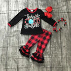 USA Christmas Kids Baby Girl Boy Clothes Ruffle Plaid Tops Pants Outfits Pajamas
