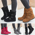 Womens Winter Warm Matte Booties Shoes Buckle Flat Short Ankle Snow Boots Size