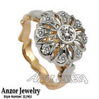 14k Solid Two-Tone Gold Cubic Zirconia Engagement Ring 585 #R1903