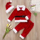 US Christmas Toddler Baby Boy Girl Xmas Santa Claus Costume Top Pants Hat Outfit