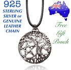 Pentagram Tree Of Life Witch Wicca Pendant Leather/ 925 Sterling Chain Necklace