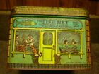 Vintage 1979 Chein Ind. Gorcery tin /storage container FISH NET~COFFEE~BARBER ..