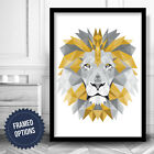 Yellow Grey GEOMETRIC LION Head Art PRINT Framed or Poster / Box Frame