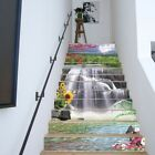 US 3D Waterfall Flowers Landscape Self-adhesive Stair stickers Stair Riser Decal
