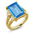 9.29 Ct Emerald Cut Swiss Blue Topaz 18K Yellow Gold Plated Silver Ring