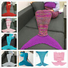 US Adult Mermaid Tail Knitted Hand Crocheted Soft Warm Sleeping Bag Wrap Blanket image