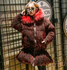 Women Big Fur Hooded Sequin Glitter Cotton Padded Coat Parka Jacket Warm 3Colors