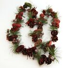 Luxury Quality Christmas 120cm Red Pine cone Garland Door Wreath Artificial 6056