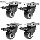4 Pack Swivel Caster Heavy Duty Caster Rubber Wheel Chair Plate Total Brake TOP