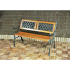 Garden Metal Bench 2 Seater Cast Iron Backrest Outdoor Furniture Home