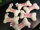 Christmas Dog Bone Squeaky Toy by Mud Pie, Canvas, NWT