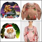 Men Women Ugly Christmas Pullover Sweatshirts 3D Digital Printed Graphic Long